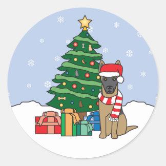Belgian Malinois and Christmas Tree Sticker