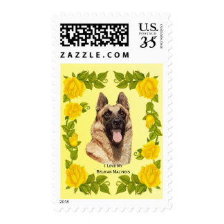 Belgian Malinois and Yellow Roses Postage