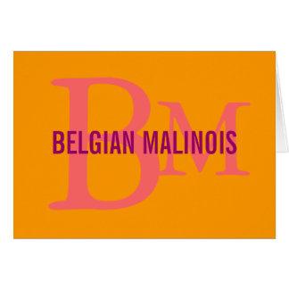 Belgian Malinois Breed Monogram Design Card