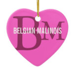 Belgian Malinois Breed Monogram Design Ceramic Ornament