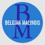 Belgian Malinois Breed Monogram Design Classic Round Sticker