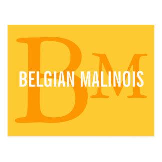 Belgian Malinois Breed Monogram Design Postcard