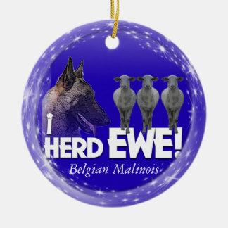 Belgian Malinois CHRISTMAS ORNAMENT i HERD EWE