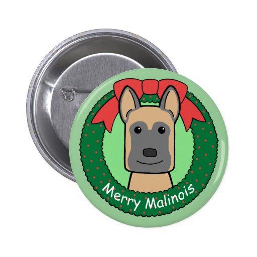 Belgian Malinois Christmas Pinback Buttons
