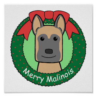 Belgian Malinois Christmas Poster