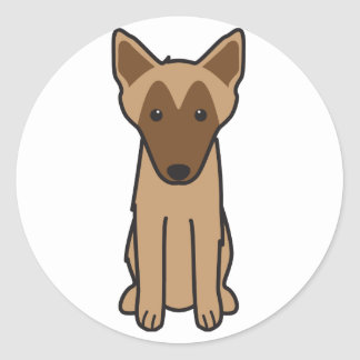 Belgian Malinois Dog Cartoon Round Stickers