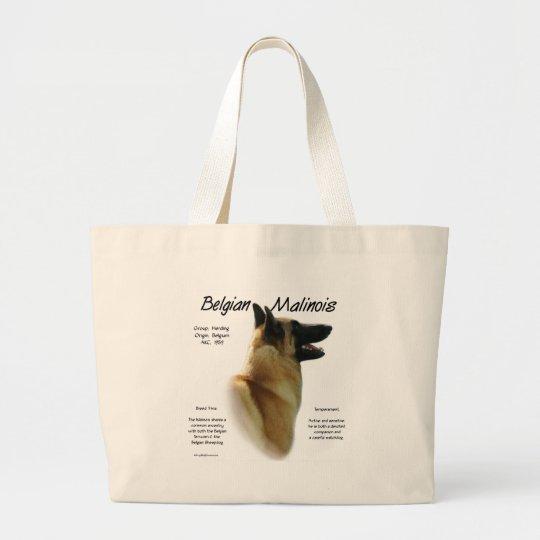 Belgian Malinois History Design Large Tote Bag
