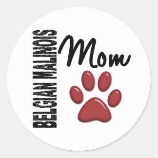 Belgian Malinois Mom 2 Classic Round Sticker