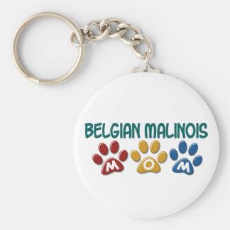 BELGIAN MALINOIS MOM Paw Print Basic Round Button Keychain