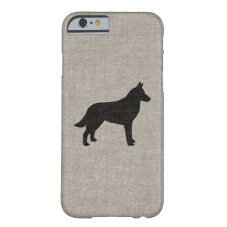 Belgian Malinois Silhouette Faux Linen Style Barely There iPhone 6 Case