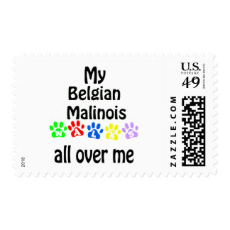 Belgian Malinois Walks Design Postage Stamp