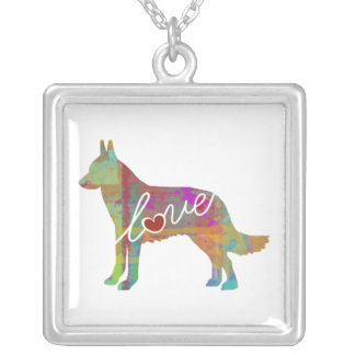 Belgian Malinois Watercolor Silver Plated Necklace