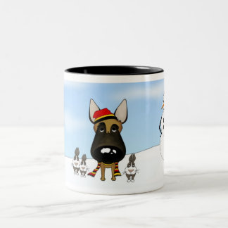 Belgian Malinois Winter Snow Two-Tone Coffee Mug