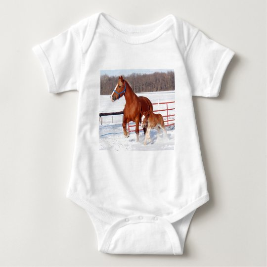 Belgian Mare and Filly Baby Bodysuit