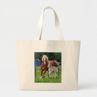 belgian Mare and Filly Large Tote Bag