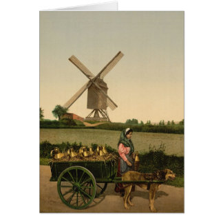 Belgian Milkmaid with a wind mill Card