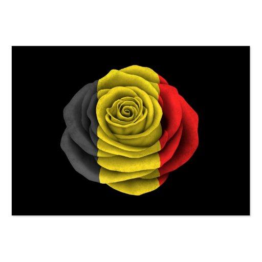 Belgian Rose Flag on Black Business Cards