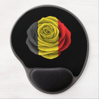 Belgian Rose Flag on Black Gel Mouse Mat