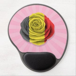 Belgian Rose Flag on Pink Gel Mousepads
