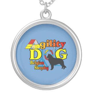 Belgian Sheepdog Agility Round Pendant Necklace