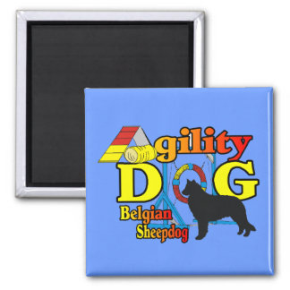 Belgian Sheepdog Agility Shirts Gifts 2 Inch Square Magnet