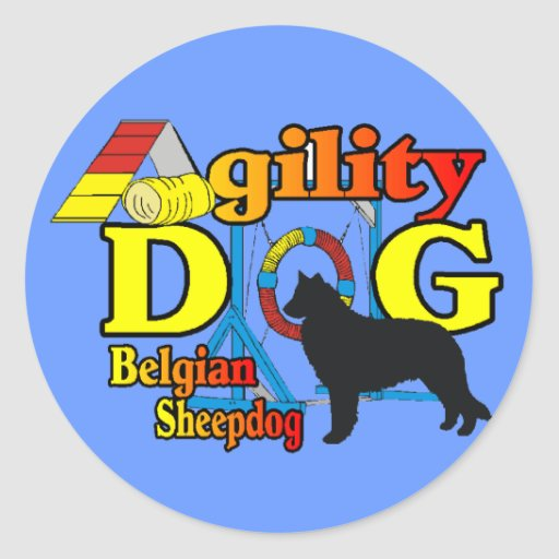 Belgian Sheepdog Agility Shirts Gifts Classic Round Sticker