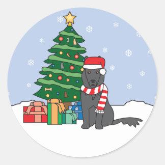 Belgian Sheepdog and Christmas Tree Round Sticker
