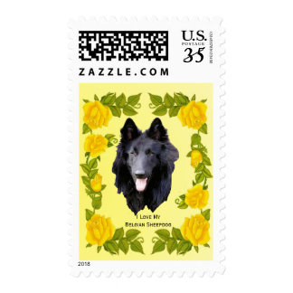 Belgian Sheepdog and Yellow Roses Postage