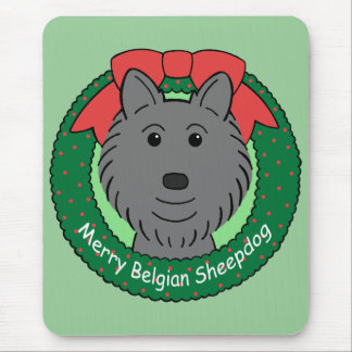 Belgian Sheepdog Christmas Mouse Pad
