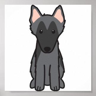 Belgian Sheepdog Dog Cartoon Poster