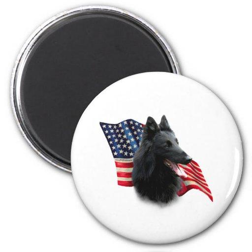 Belgian Sheepdog Flag 2 Inch Round Magnet