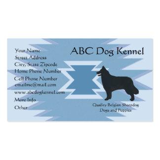 Belgian Sheepdog on Blue Indian Design Business Card Template