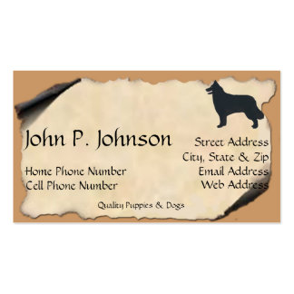 Belgian Sheepdog on Old Parchment Business Cards