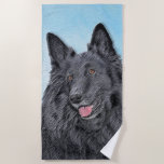 Belgian Sheepdog Painting - Cute Original Dog Art Beach Towel