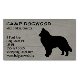 Belgian Sheepdog Silhouette Magnetic Business Card