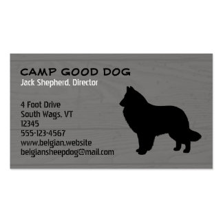 Belgian Sheepdog Silhouette Wood Style Business Card Template