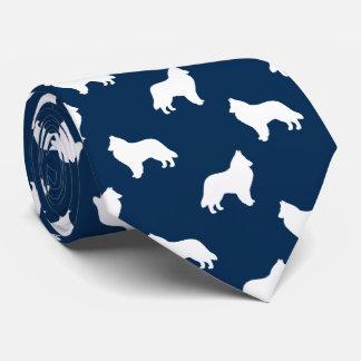 Belgian Sheepdog Silhouettes Pattern Neck Tie