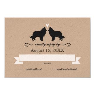 Belgian Sheepdog Silhouettes Wedding Reply RSVP Card