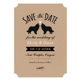 Belgian Sheepdog Silhouettes Wedding Save the Date Card