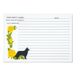 Belgian Sheepdog, Yellow Roses Recipe Card