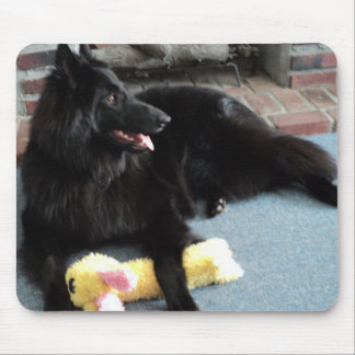 Belgian Shepherd by the Fireplace Mouse Pad