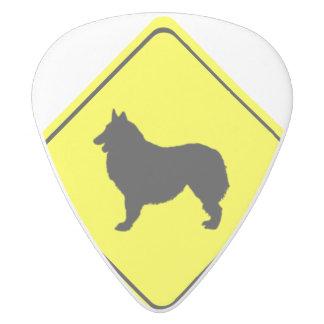 Belgian Shepherd Dog Silhouette Crossing Sign White Delrin Guitar Pick