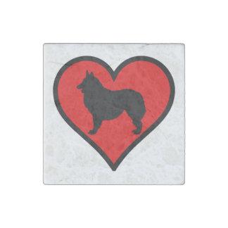 Belgian Shepherd Dog Silhouette Crossing Sign Stone Magnet