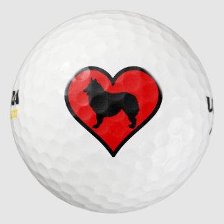 Belgian Shepherd Dog Silhouette Crossing Sign Pack Of Golf Balls