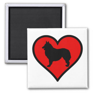 Belgian Shepherd Dog Silhouette Crossing Sign 2 Inch Square Magnet