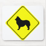 Belgian Shepherd Dog Silhouette Crossing Sign Mouse Pad