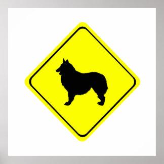 Belgian Shepherd Dog Silhouette Crossing Sign Poster