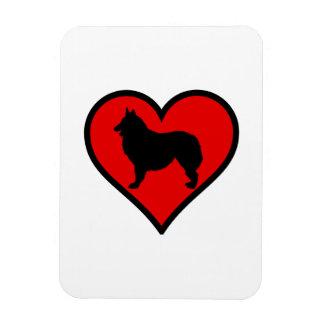 Belgian Shepherd Dog Silhouette Crossing Sign Rectangular Photo Magnet