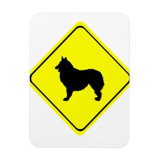 Belgian Shepherd Dog Silhouette Crossing Sign Flexible Magnets