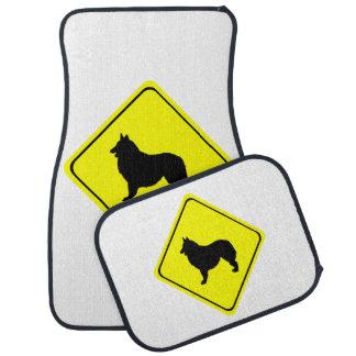 Belgian Shepherd Dog Silhouette Crossing Sign Floor Mat